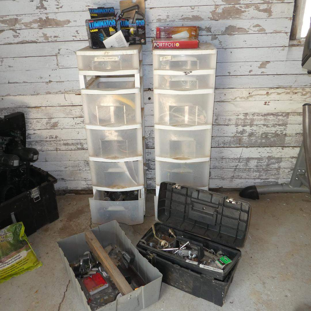 Lot # 91 - Two Plastic Storage Organizers, Toolbox & Misc. Supplies (main image)