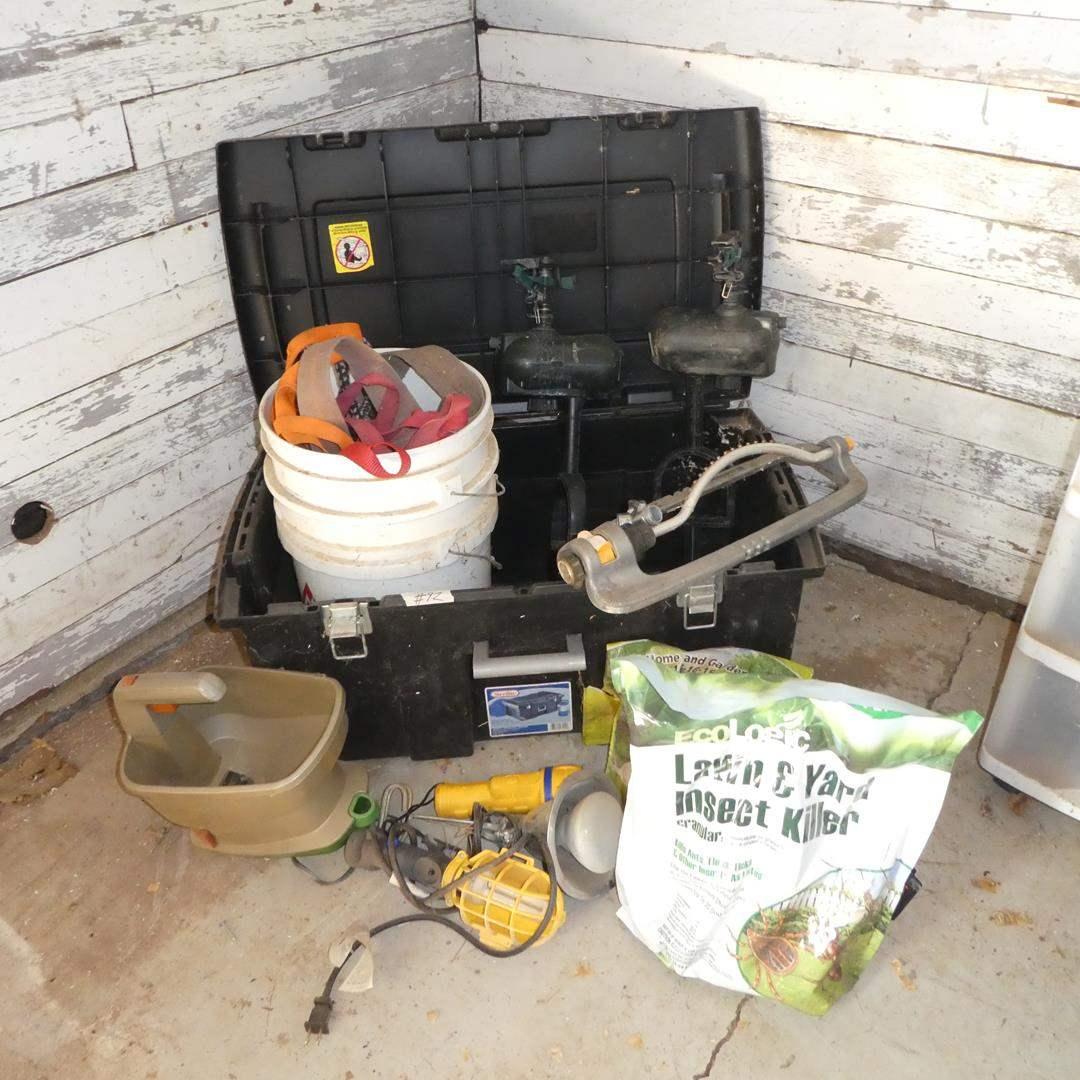 Lot # 92 - Sprinklers, Tie Down Straps, Shop Lights, Fertilizer, Sterilite Bin, Insect Killer & Spreader (main image)