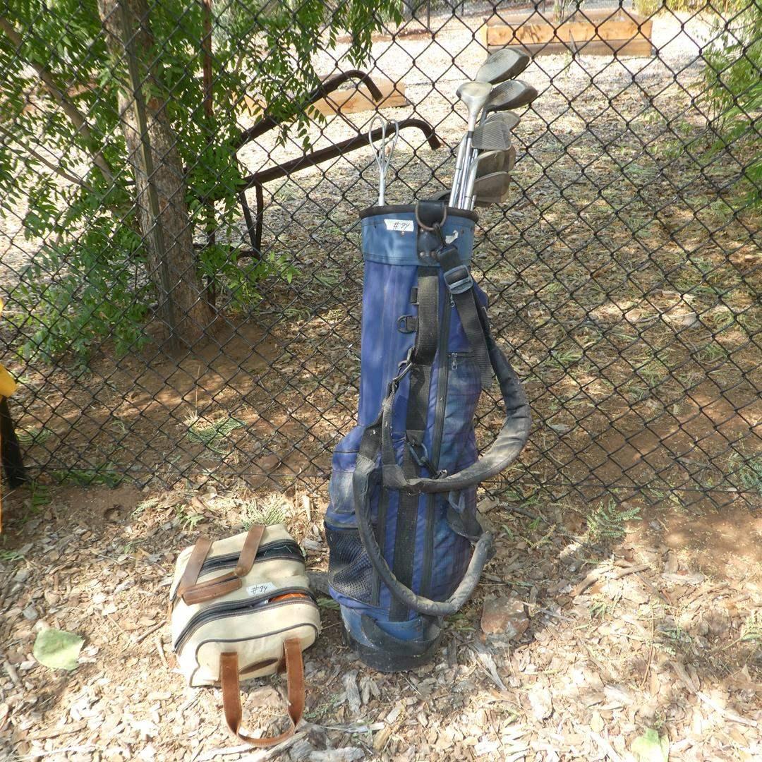 Lot # 94 - Golf Bag, Golf Clubs & Bocce Ball Set (main image)