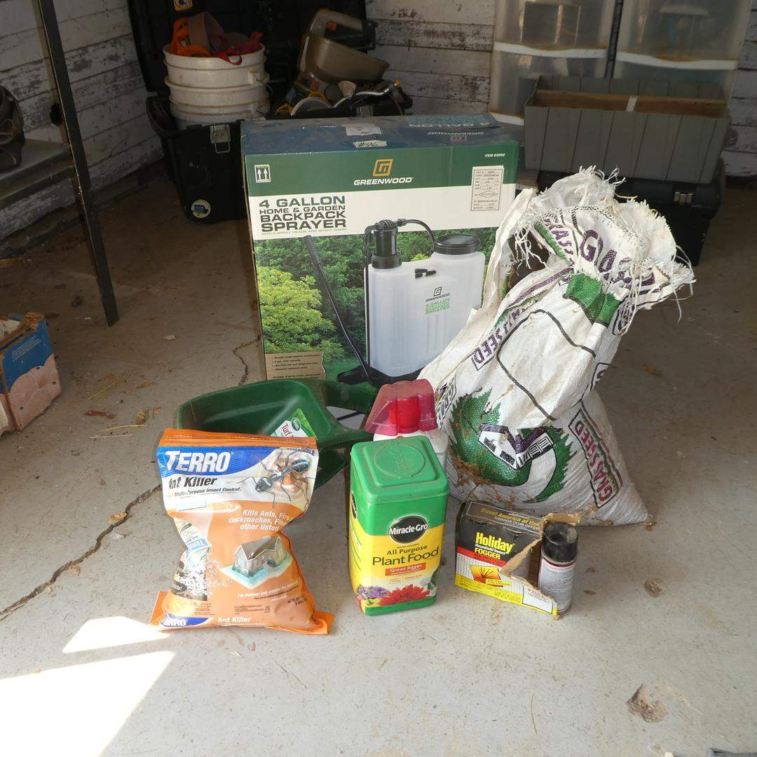 Lot # 96 - Ant Killer, Plant Food, Insect Fogger, Roundup, Spreader, Grass Seed & 4 Gallon Backpack Sprayer (NIB) (main image)