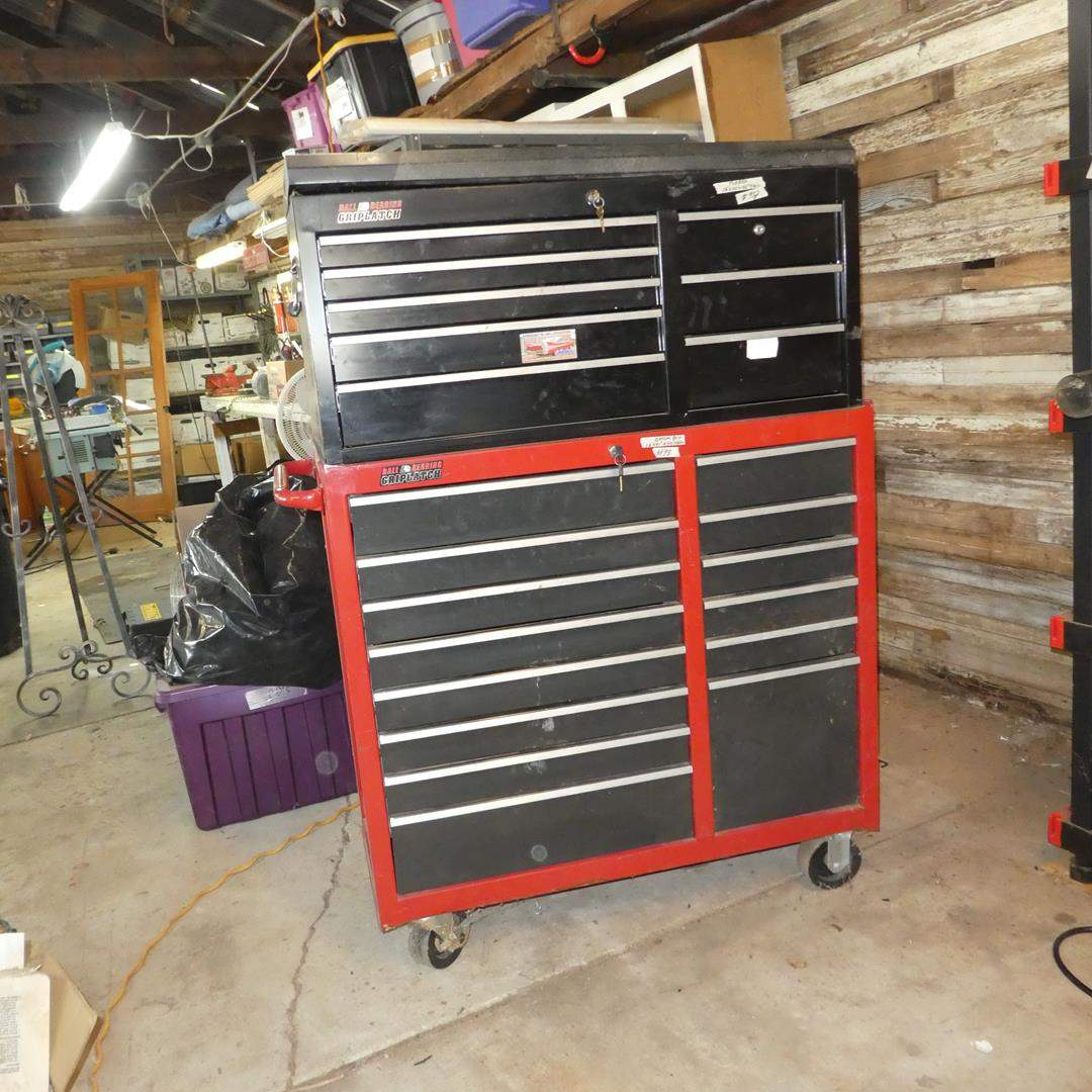 Lot # 98 - Two Piece Ball Bearing Grip Latch Tool Chest on Wheels w/Keys & Misc. Tools (main image)