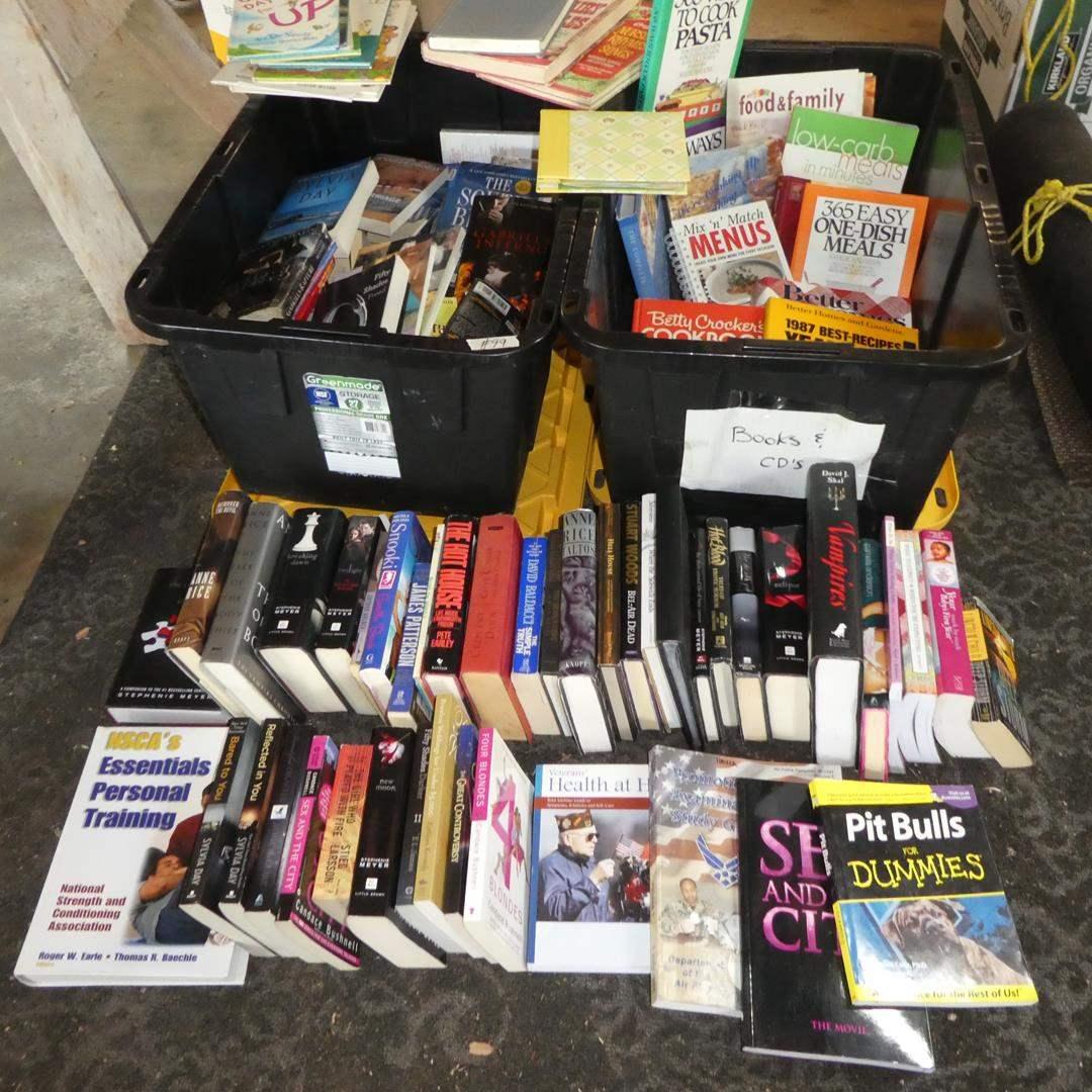 Lot # 99 - Big Lot of Assorted Books: Kids Books, Adult Novels, Cookbooks & More (main image)