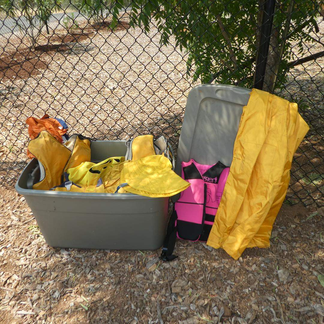 Lot # 100 - Rain Gear & Life Vests - See Pics for Sizes (main image)