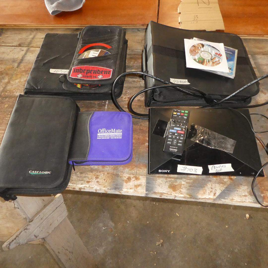Lot # 103 - Sony Blu-Ray Disk DVD Player w/Remote, 40 DVDs & 110+ Music CDs (main image)