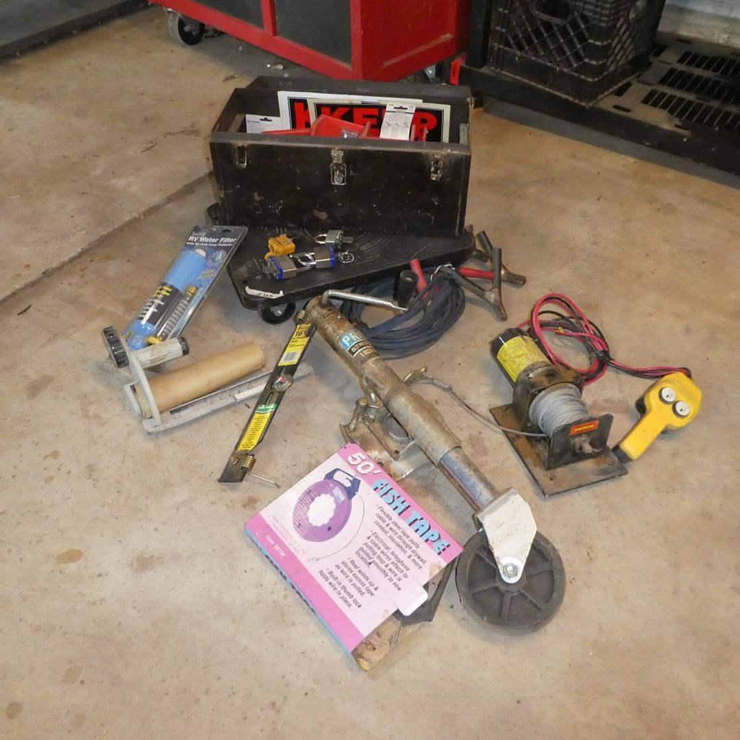 Lot # 105 - Tool Box, Padlocks, Utility Winch, Jumper Cables & More (main image)
