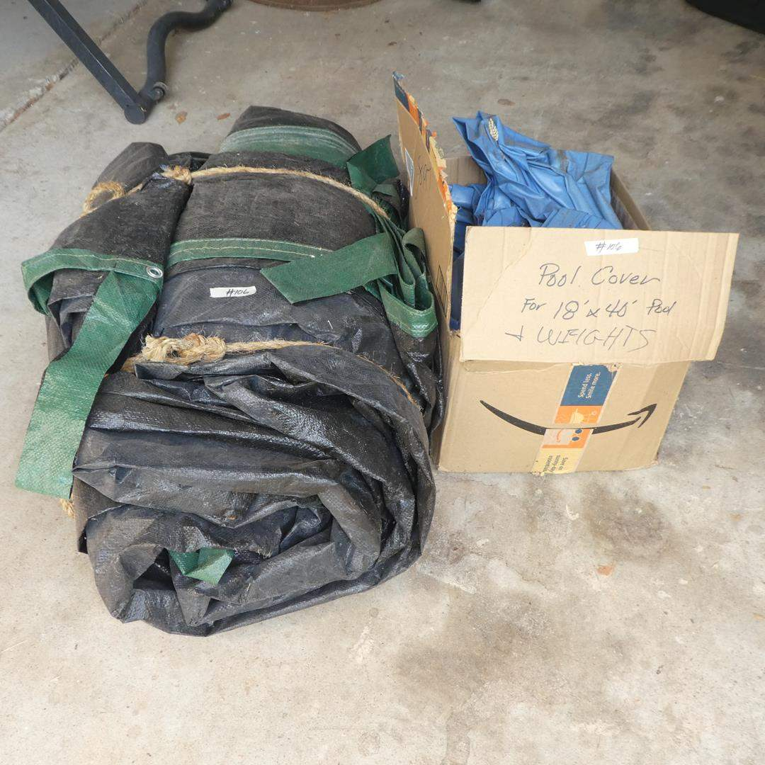 Lot # 106 - 18' x 40' Inground Pool Cover & Weights (main image)