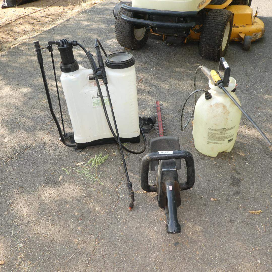 """Lot # 107 - 4 Gallon Backpack Sprayer, Roundup Sprayer & Sears Craftsman 20"""" Electric Hedge Trimmer (main image)"""