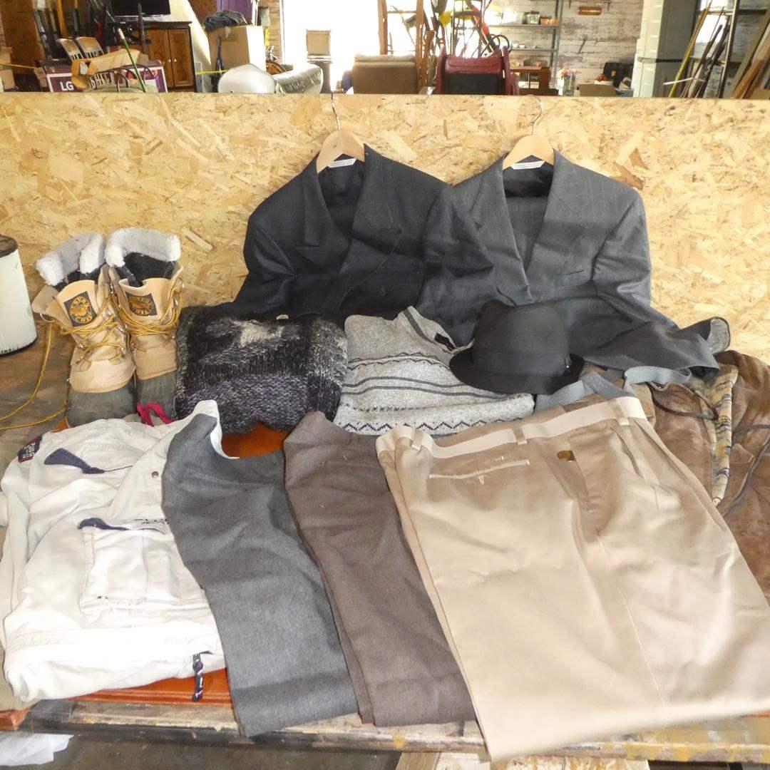 Lot # 109 - Men's Pants, Slacks, Jacket, Sweaters, Suits, Hat & Boots - See Pics For Sizes (main image)