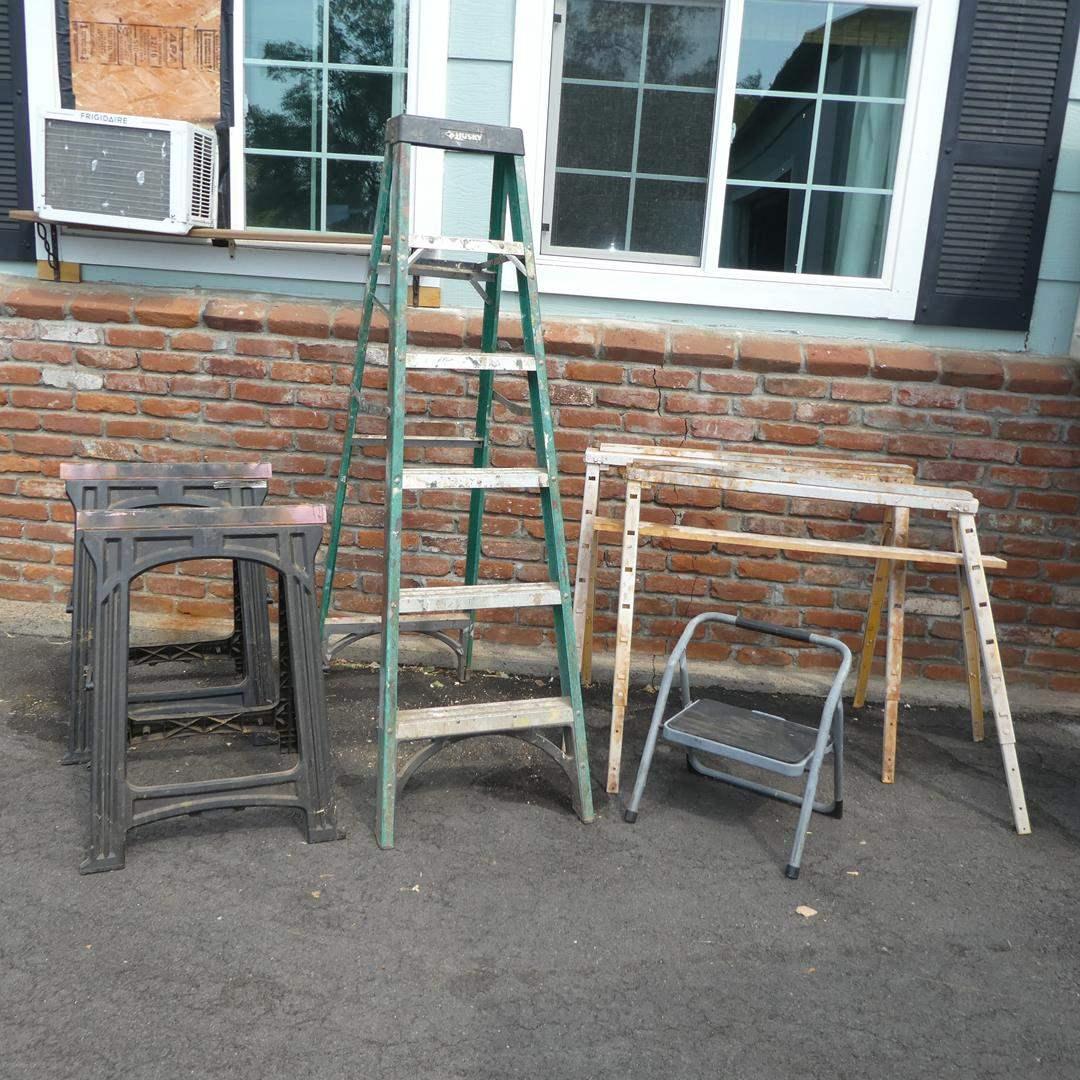Lot # 119 - Two Pair Sawhorses, Husky 6' Ladder & Stepstool (main image)