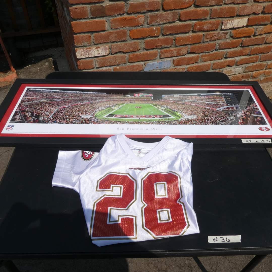 Lot # 36 - Framed 49ers Stadium Photo with Girls Large Jersey (main image)
