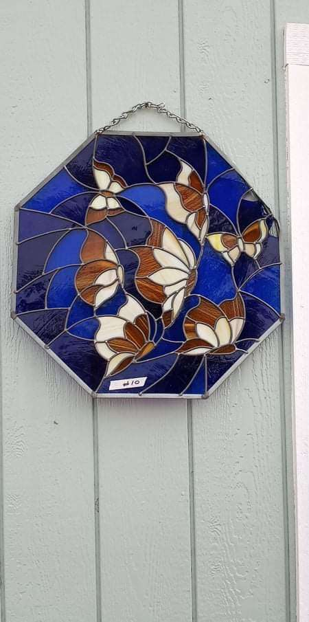 Lot # 10 - Stained Glass with Butterflies  (main image)