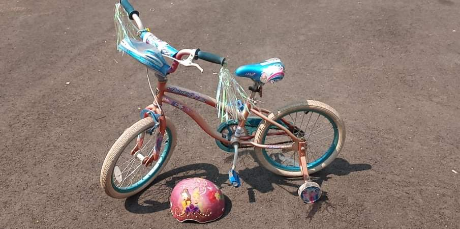 Lot # 16 -  Girls Bicycle With Streamers Also Comes With A Helmet (main image)
