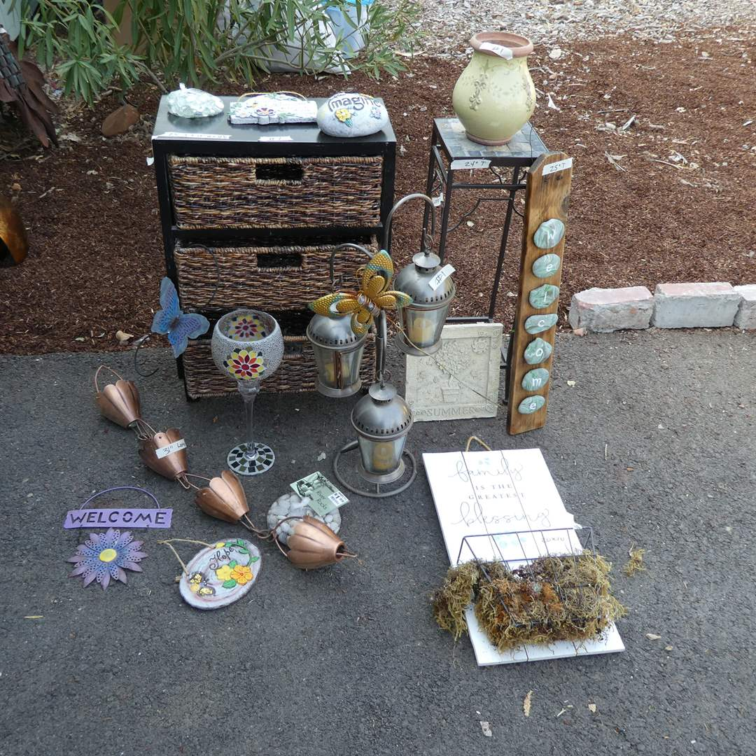 Lot # 1 -  Wicker Basket Storage, Plant Stand, Candle Lantern, Misc. Decor and Hardware (main image)