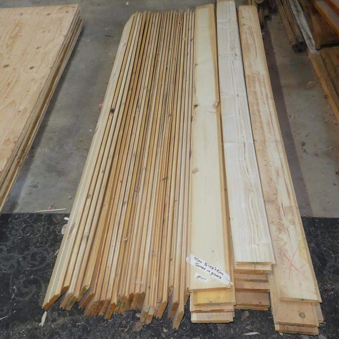 Lot # 111 - 45 Pieces Tongue & Groove Wood (main image)