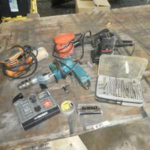 Lot # 183 -Craftsman, Black & Decker & Ridgid Sanders, Dewalt & Husky Drill Bits w/ Makita Drill