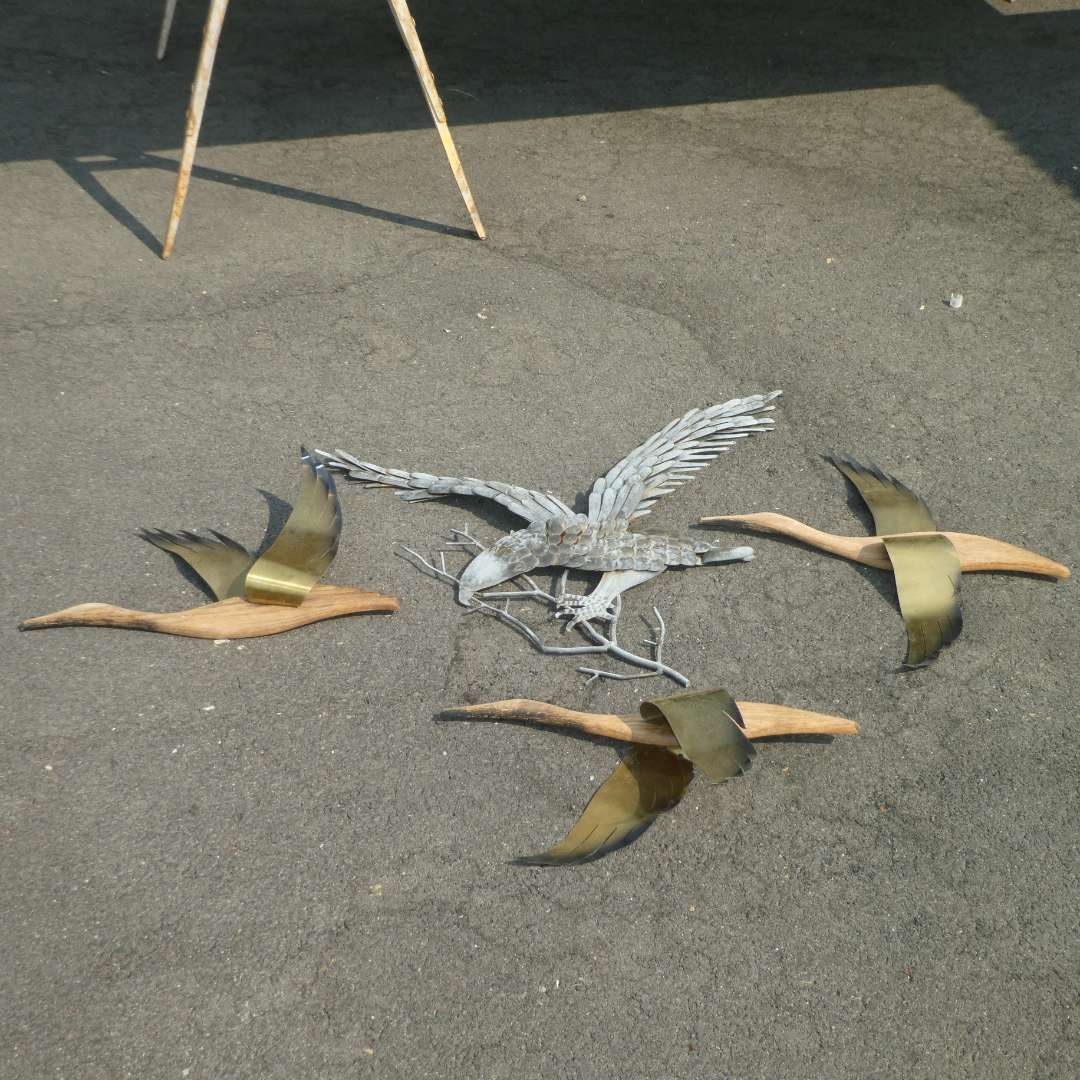 Lot # 161 - Outdoor Metal and Wood Wall Art (Eagle & Flying Birds) (main image)