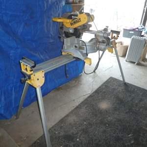 Lot # 165 - DeWalt (DW718) Miter Saw w/ Adjustable Stand  and Blades
