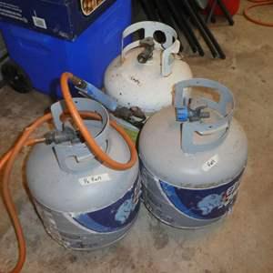 Lot # 166 - 3 Propane Tanks (Full, 1/2 Full & Empty) w/ Propane Torch