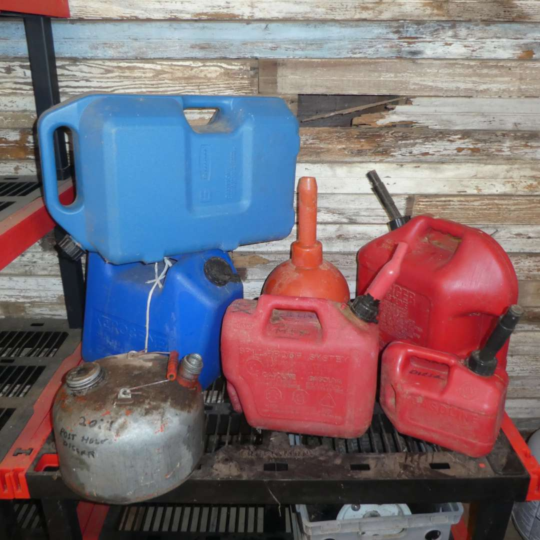 Lot # 169 - Assorted Gas Cans and Funnel (main image)