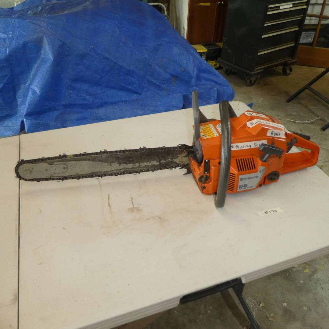 Lot # 170 - Husqvarna 55 Rancher Chainsaw -20in Bar (Missing Air Cleaner Nut, Missing Screw) (main image)