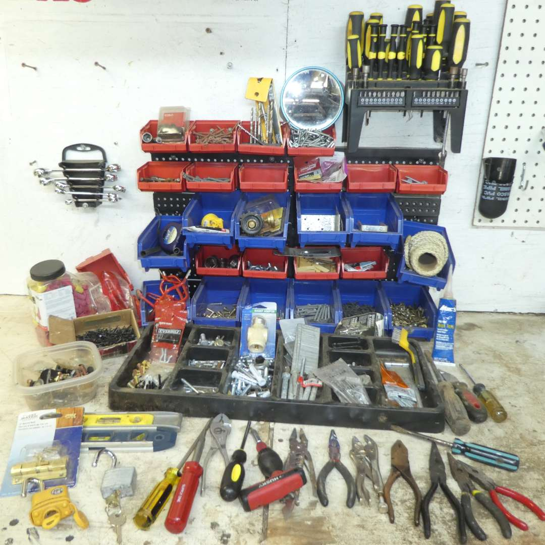 Lot # 179 - Assorted Tools & Hardware - Pliers, Screwdrivers, Wrenches, Levels, Screws, Hooks and More! (main image)