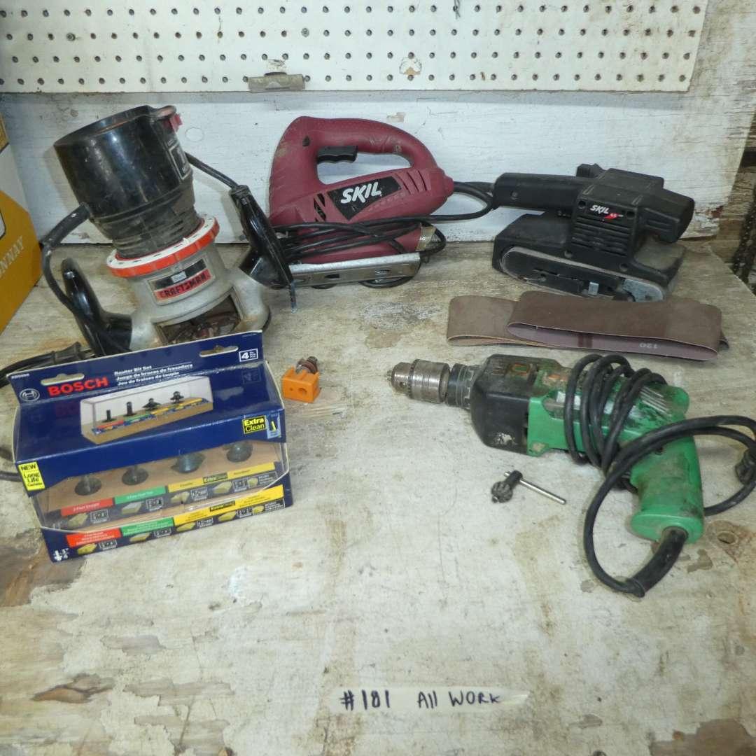 Lot # 181 - Craftsman Router, Bosch Router Bits, Skil Belt Sander, Skil Jigsaw & Drill (main image)