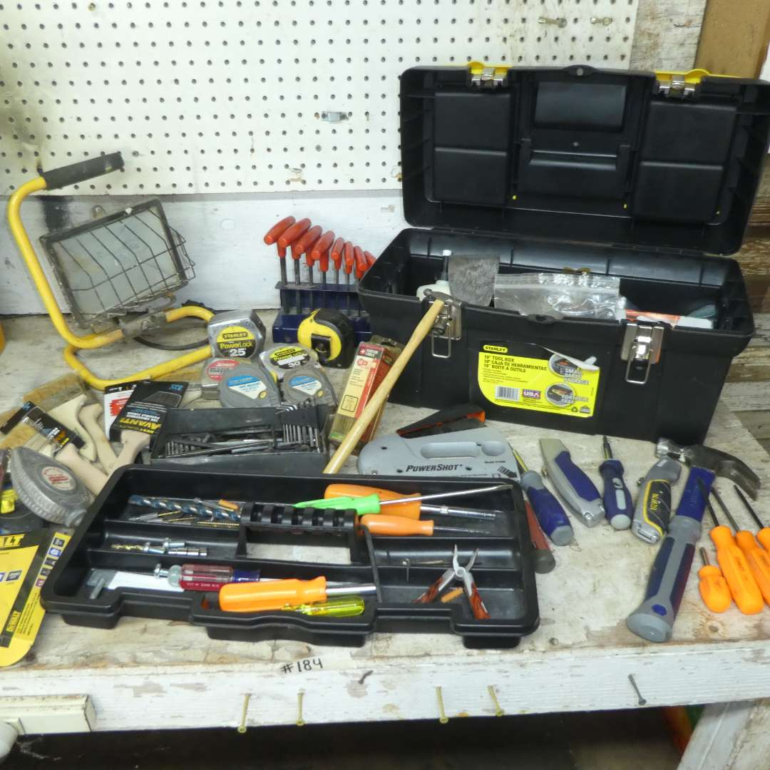 Lot # 184 - Misc. Tool Lot - Hammer, Allen Wrenches, Shop Light, Paint Brushes, Tool Box and More! (main image)