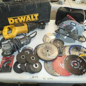 Lot # 185 - Dewalt Reciprocating , Skil Saw Black & Decker Grinder & A Variety of Saw Blades
