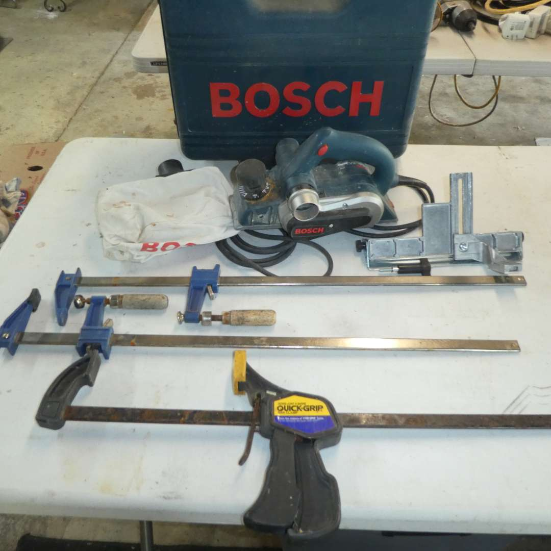 Lot # 189 - Bosch Biscuit Joiner and Clamps (main image)