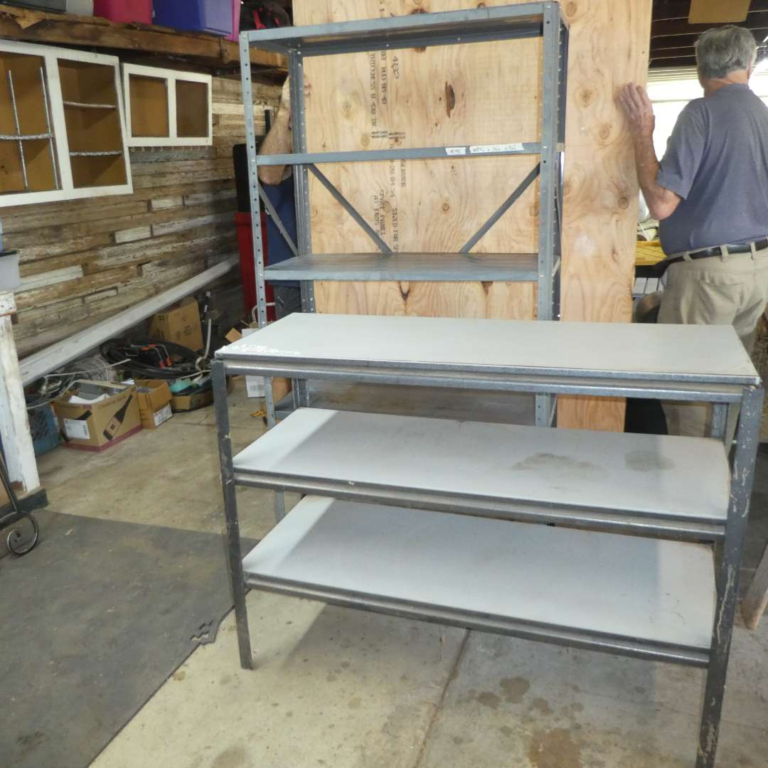 Lot # 195 - Two Utility Shelves (Both Need Tightening)(See Photos for Dimensions)  (main image)