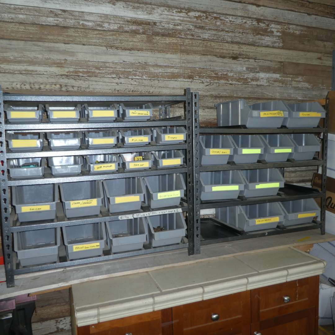 Lot # 196 - Utility Shelving w/ Storage Bins (See Photos for Dimensions)  (main image)