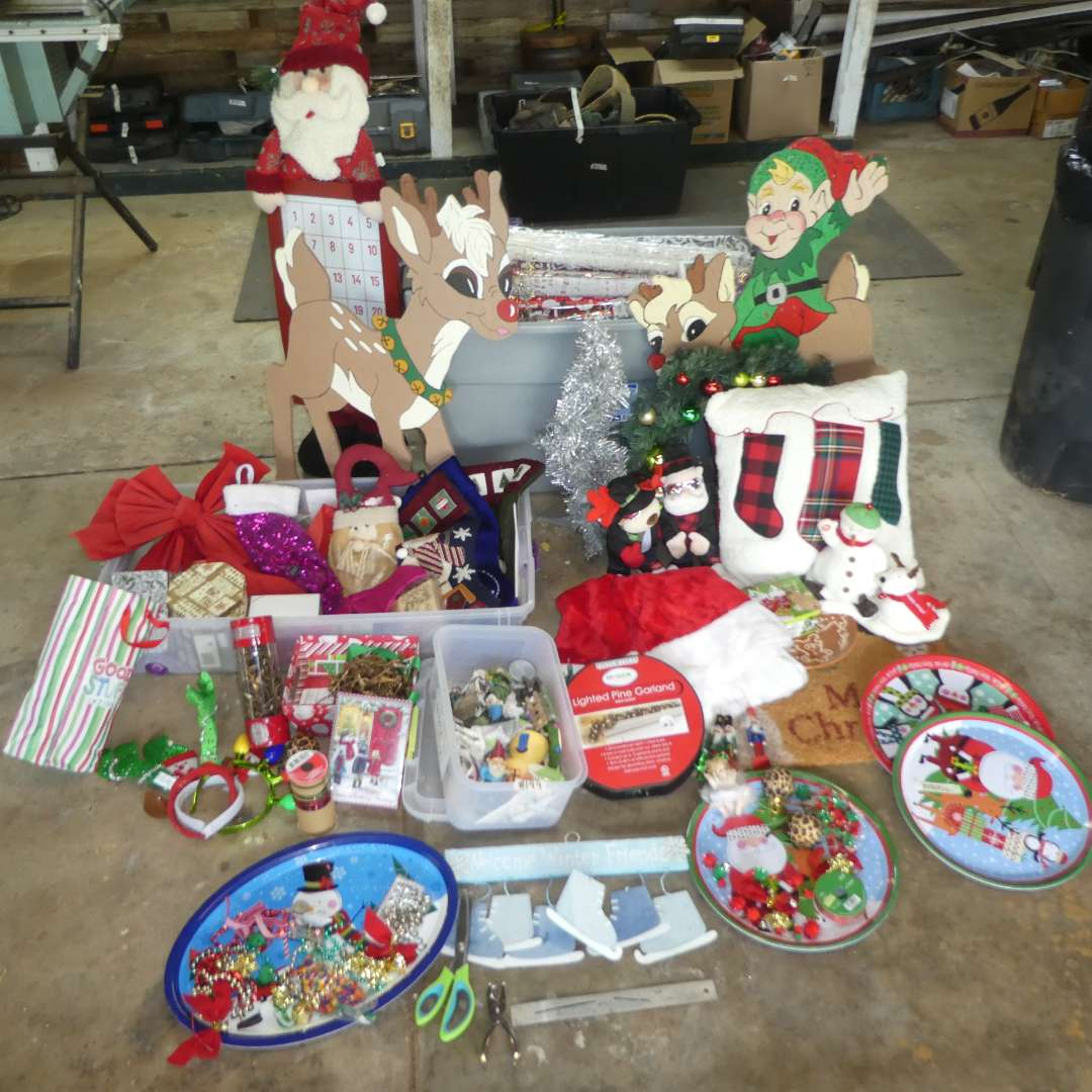 Lot # 199 - Huge Christmas Lot - Lighted Garland, Ornaments, Stockings, Wreath, Decor and More! (main image)