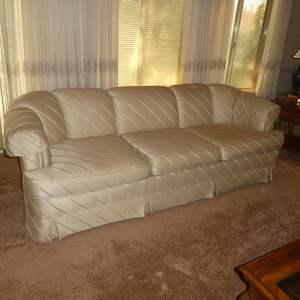 Lot # 50 -  Off White Sofa -Striped