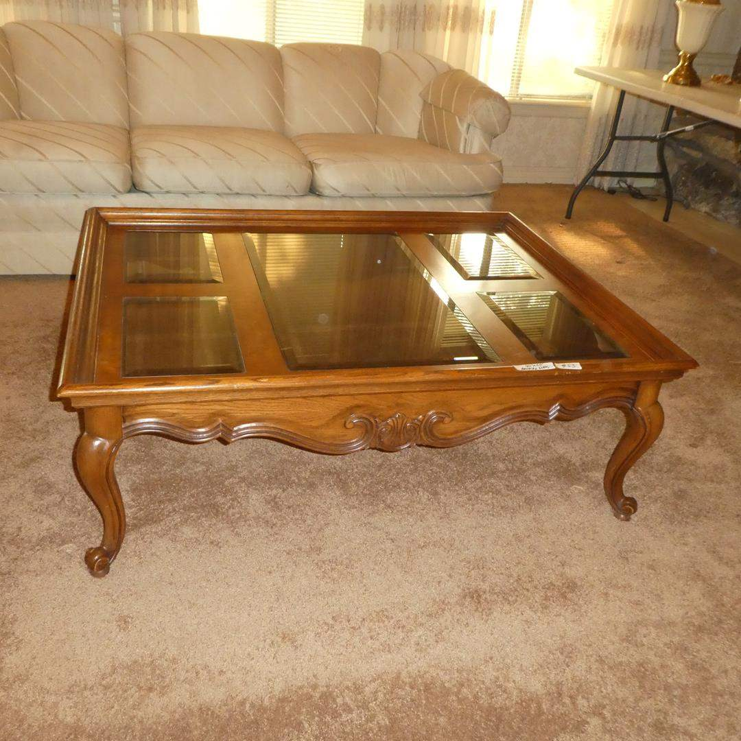 Lot # 53 - Beveled Glass & Wood Framed Coffee Table (main image)