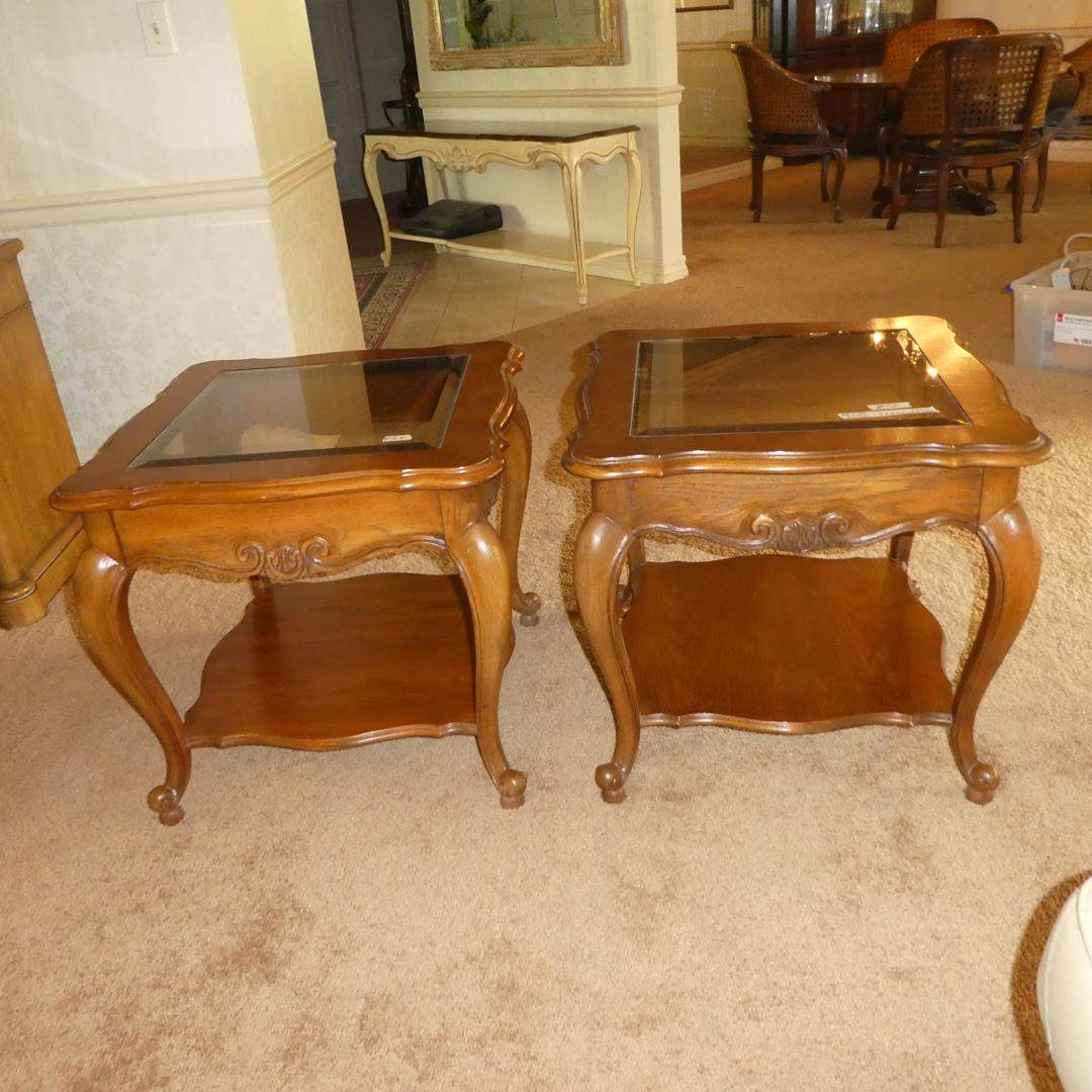 Lot # 54 - Pair Beveled Glass & Wood Framed End Tables (main image)