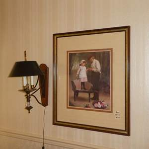 Lot # 55 - Large Framed Print & Plug In Wall Sconce Lamp