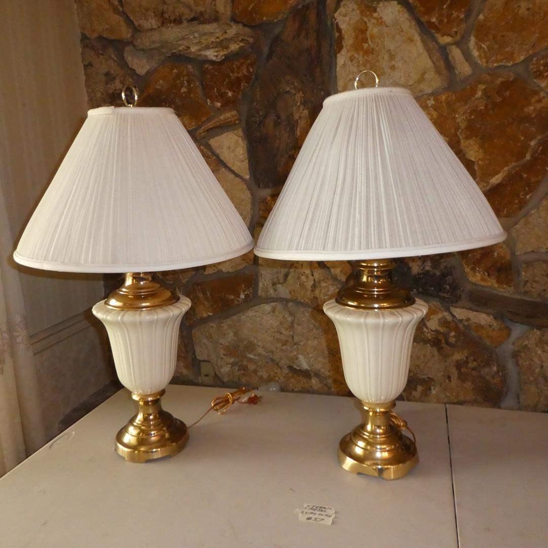 Lot # 57 - Pair Ceramic & Metal Table Lamps (3-Way Switch) (main image)