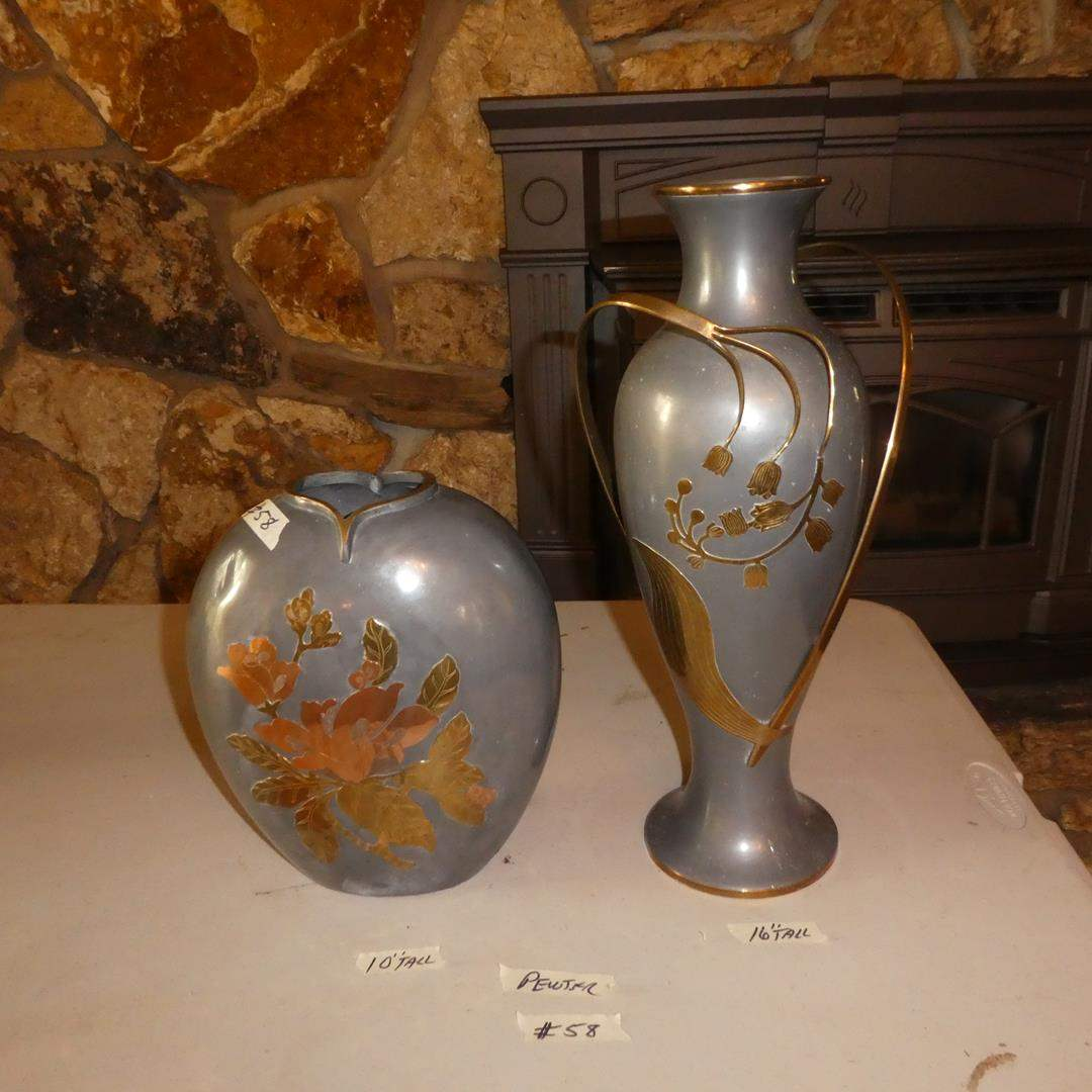Lot # 58 - Two Pewter Vases w/Brass & Copper Detail Made In Hong Kong (main image)