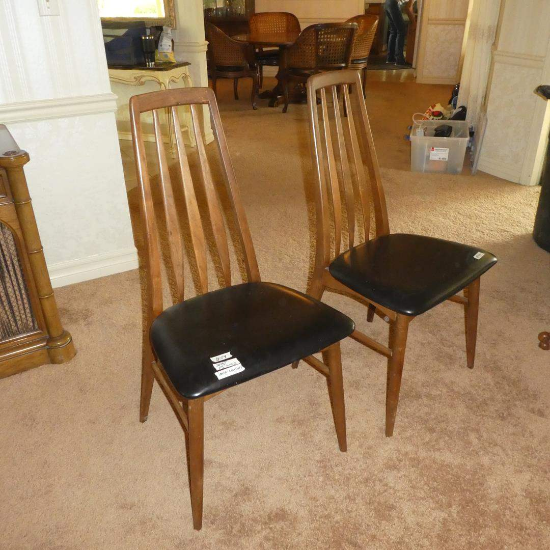 Lot # 59 - Pair Niels Koefoeds Hornslet Mid Century Eva Teak Dining Chairs (main image)