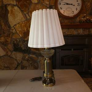 Lot # 60 - Vintage Brass & Glass Table Lamp