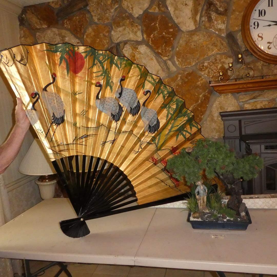 Lot # 61 - Large Gold Gilt Pictorial Folding Wall Fan & Artificial Bonsai Tree (main image)