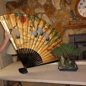 Lot # 61 - Large Gold Gilt Pictorial Folding Wall Fan & Artificial Bonsai Tree
