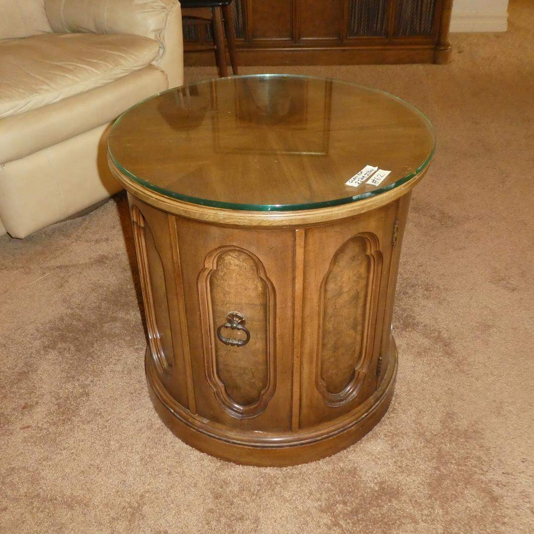 Lot # 62 - Vintage Wood w/Glass Top Round End Table w/Door Storage (main image)