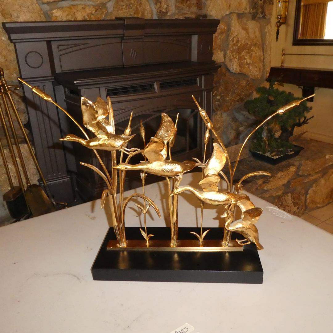 Lot # 64 - Vintage Signed Mid Century Modern Brutalist Geese & Cattail Brass Sculpture - Made in Italy (main image)