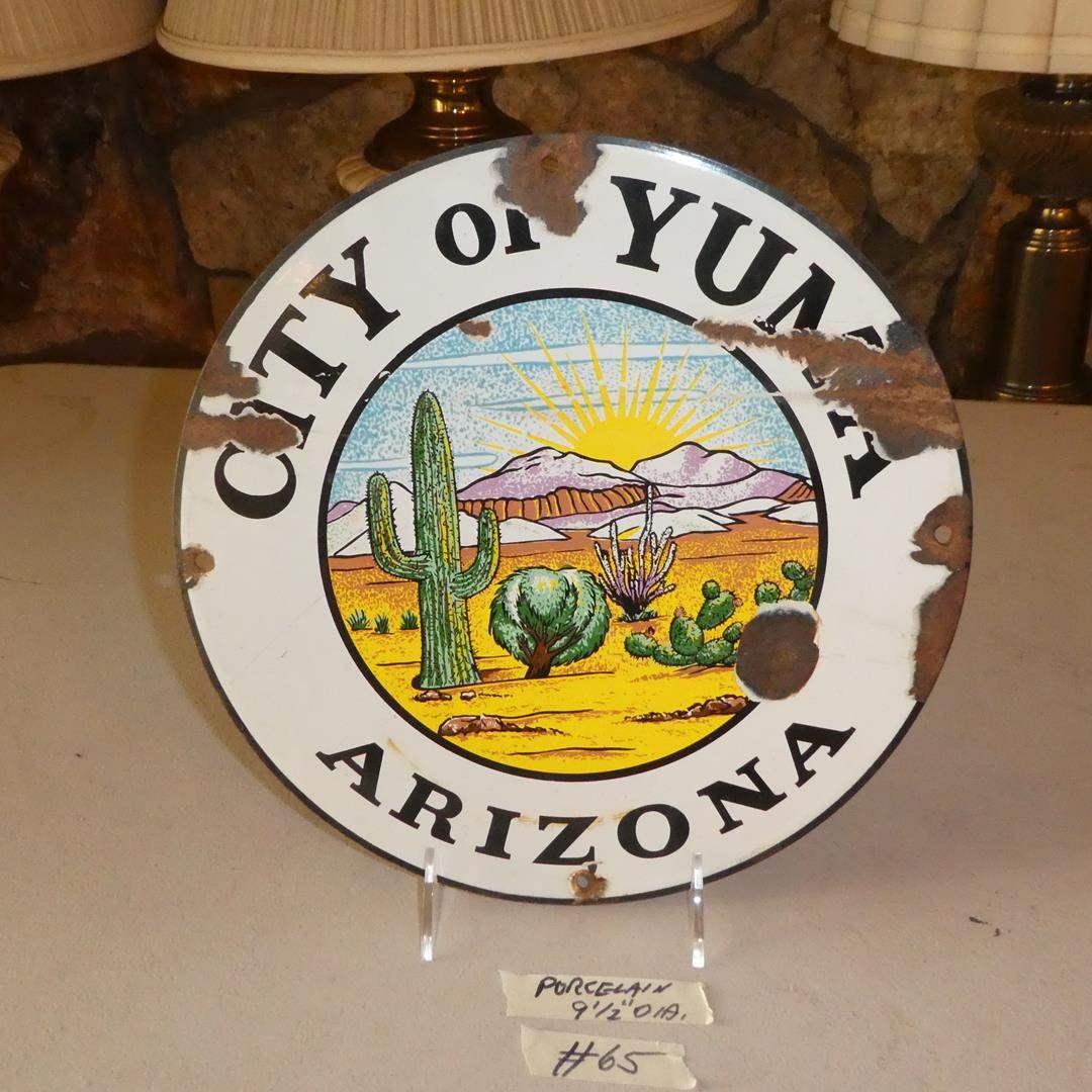 Lot # 65 - Vintage Porcelain Enamel Metal City of Yuma Arizona Sign (main image)