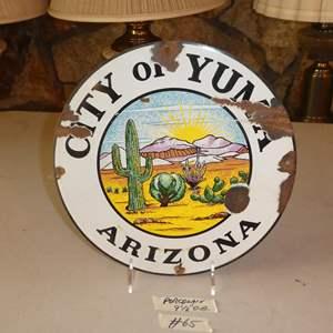 Lot # 65 - Vintage Porcelain Enamel Metal City of Yuma Arizona Sign