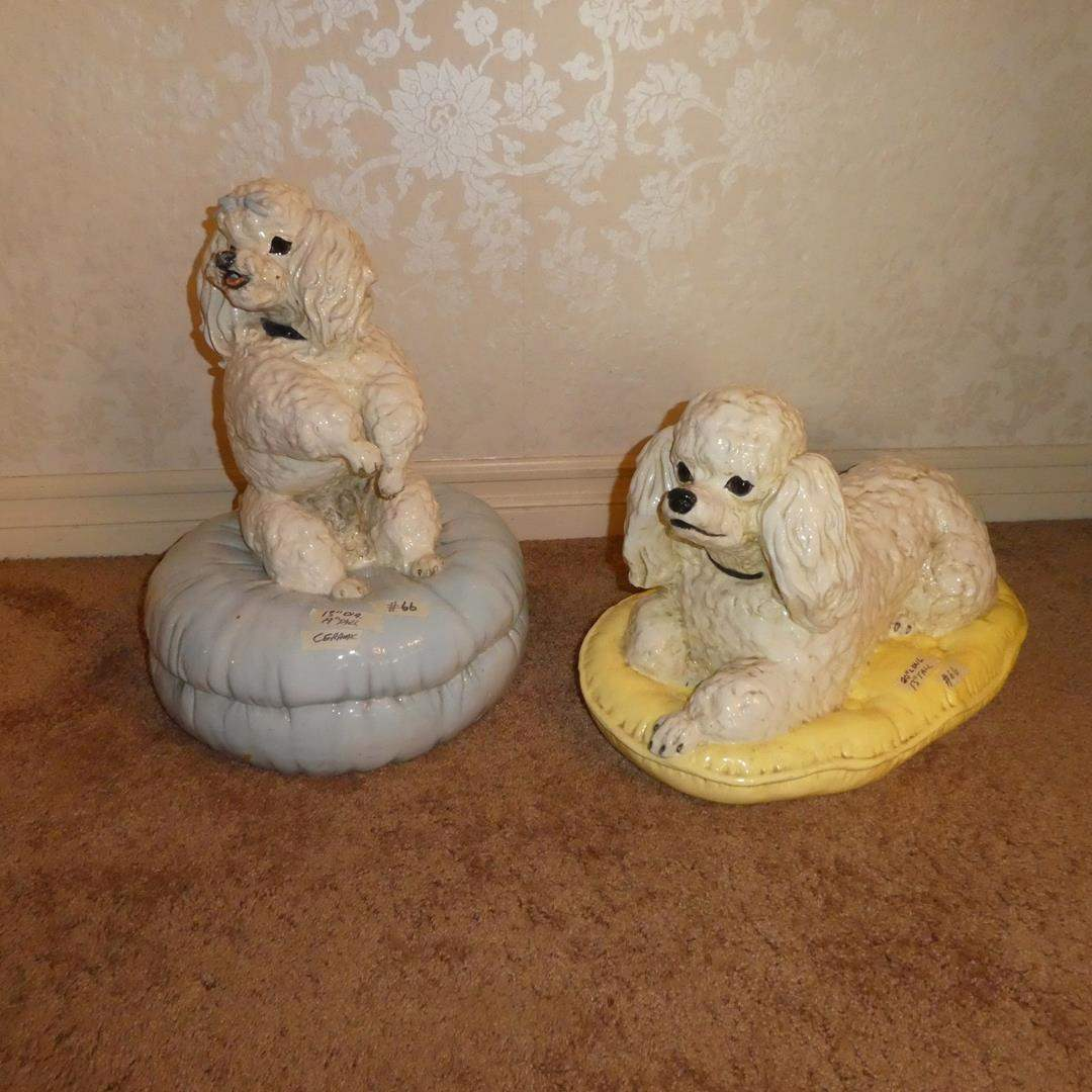 Lot # 66 - Two Large Vintage The Townsends Glazed Ceramic Pottery Poodles on Pillows 1973 & 1974 (main image)