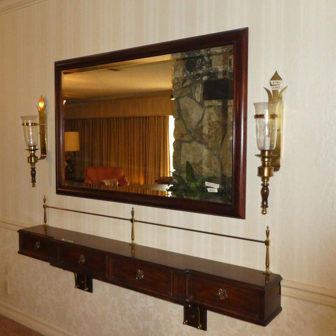 Lot # 67 - Framed Beveled Glass Wall Mirror, Hickory Manufacturing Co. Wall Shelf w/3 Dovetailed Drawers & Pair Brass Wall Lamps (main image)