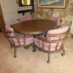 Lot # 69 - Vintage I. M. David Co. Round Wooden Dining Table & Four Chairs on Casters