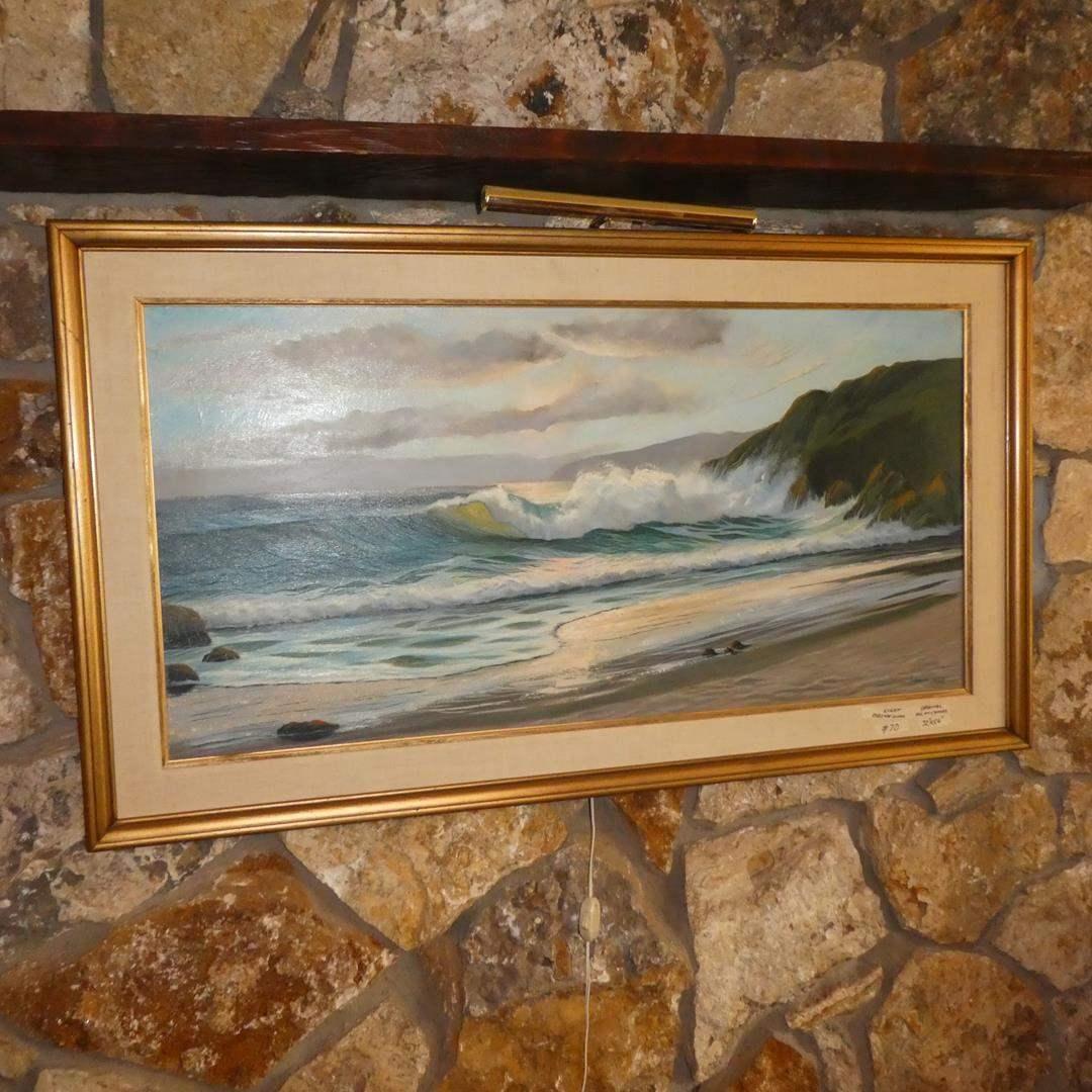 Lot # 70 - Large Framed Vintage 1968 Artist Signed Ocean Scene Oil on Canvas Painting (main image)